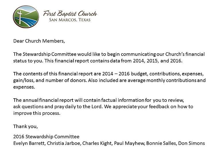 First Baptist Church – Daily Financial Report