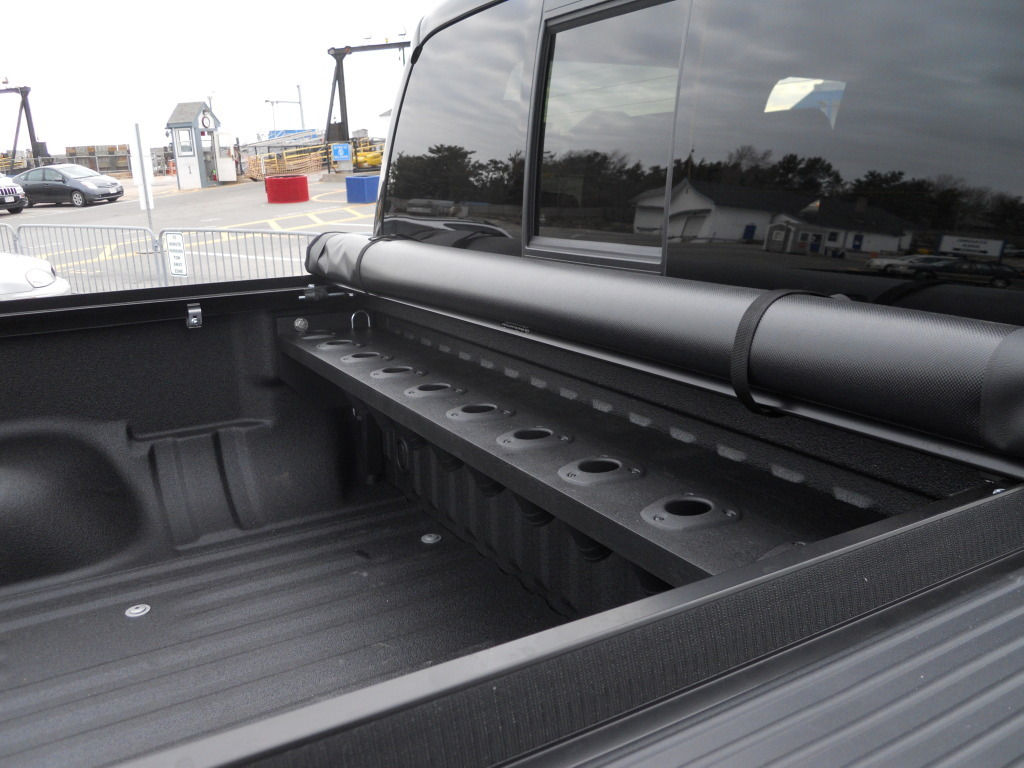 Tuna slayer rod racks custom truck bed rod holders rod for Truck bed fishing rod holder