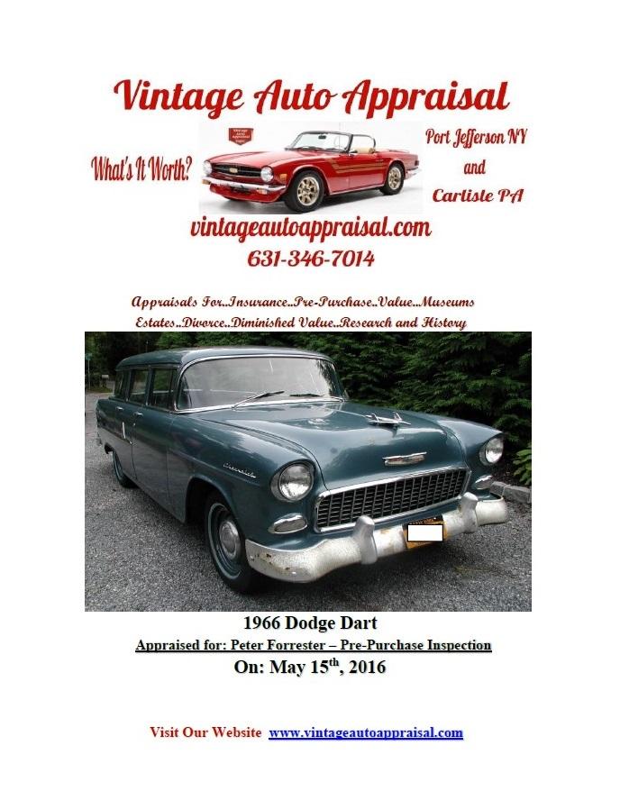View A Sample Vintage Auto Appraisal Value Report.. | Vintage Auto ...