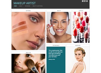 Makeup Artist Template - Ideal for make-up artists and cosmetics companies, this website template is fresh, light, and clean. Take advantage of the abundant space for text and photos to showcase your services and products from every angle. Play with color and make changes to the layout to create a website that matches your aesthetic.