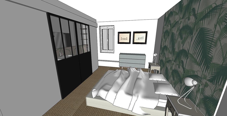chambre parentale avec salle de bain attenate avec porte coulissantes de style verrire papier peint graphique - Chambre Avec Salle De Bain Verriere