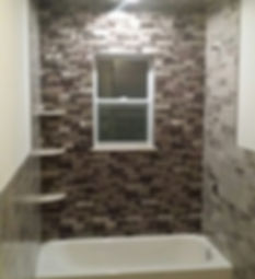 Mosaic tile, bathrub, bathroom, bathoom window, shower shelving, tiling bathroom, ceiling tile