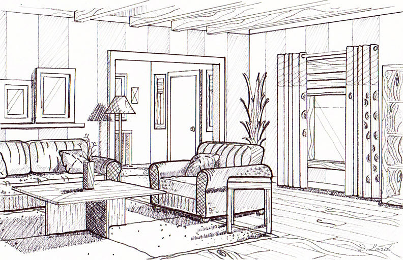 Line Drawing Room : Dyan lord smith interior design phase line drawing