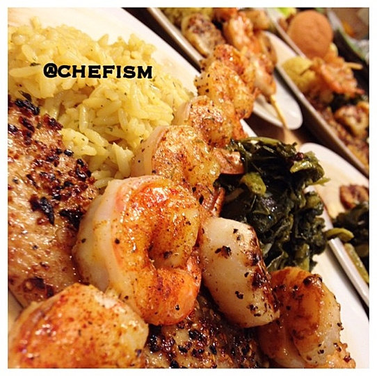 Ginger sesame tilapia with scallops and seasoned grilled shrimp ...