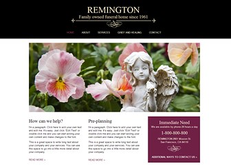 Funeral Home Template - A tasteful theme perfect for those in the funeral service industry. Take advantage of the grid layout to organize your important information for maximum readability. Simply customize the text, photos, and color scheme to take your business online.