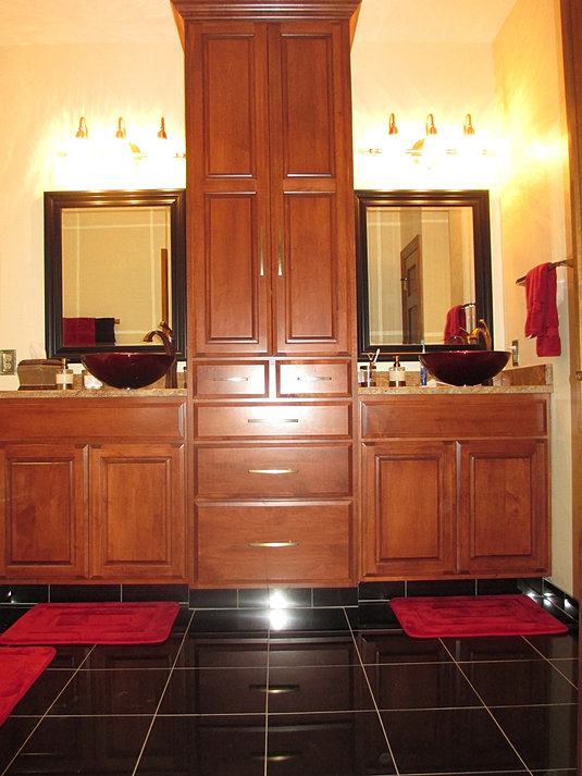 double vanity with center tower. Double Vanity with Center Tower Kitchen Cabinets and Vanities Custom Made by ProCraft Fine Cabinet