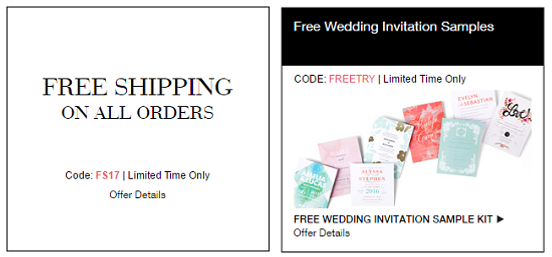 go here to get your free wedding samples kit from wedding paper divas they are also offering free shipping on any order when you enter promo code fs17 at