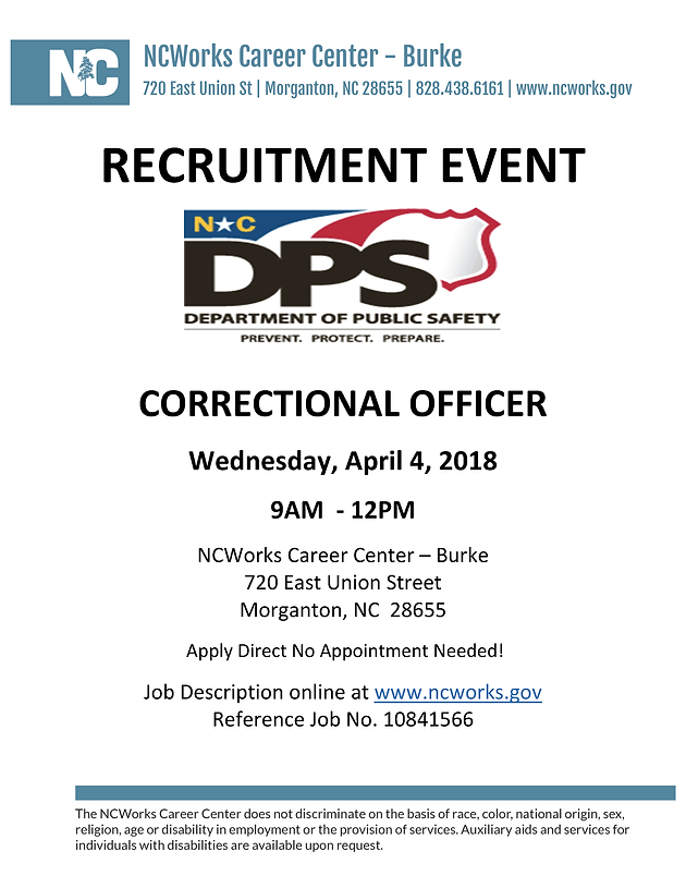 Department Of Public Safety Recruiting Correctional Officer   NCWorks  Career Center Burke, April 4, 9AM To 12PM