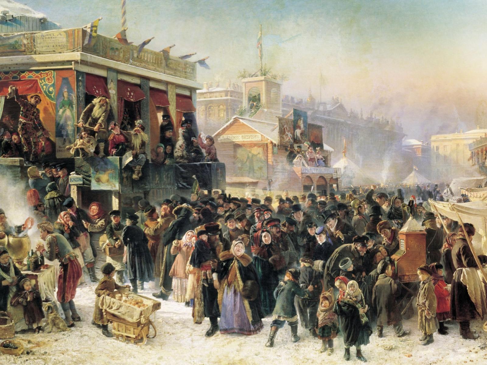"""К. Е. Маковский """"Народное гуляние во время Масленицы на Адмиралтейской площади в Петербурге"""" 1869 г."""