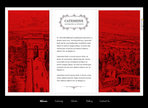 Events Website Template - Transport your potential customers to another place with a reddened, romantic web residence. Perfect for the organized catering service or restauranteur and ready for your content to enlighten its pages.