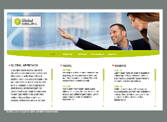 Global Consulting Template - A Corporate  Website with a simple menu, that is easy to customize with your logo, and Perfectly suited to promoting your brand on top of your site.