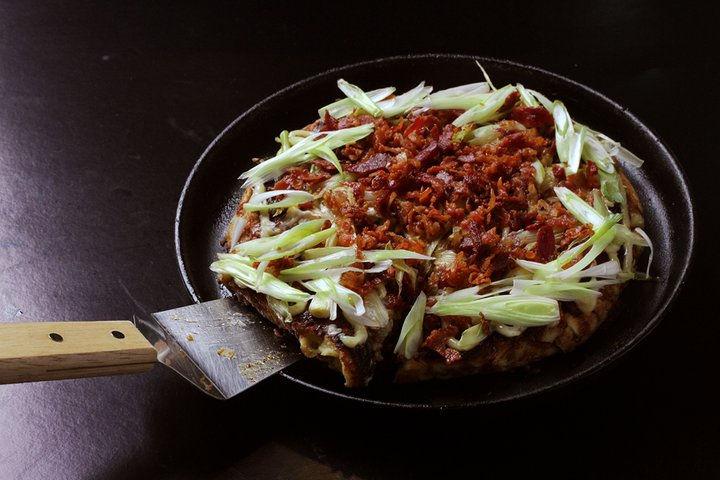mushroom bacon bits okonomiyaki