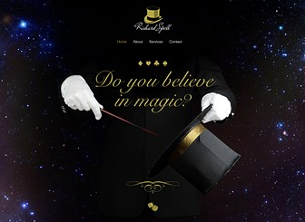 The Magician Template - Rich colors and ornate illustrations give this template a touch of enchantment. Simply add text to advertise your services and showcase customer testimonials. Create a website and dazzle the crowd!