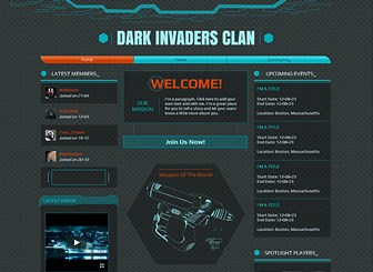 Gaming Clan Template - Start your own gaming community with this dark and edgy website template. Customize the text to let your followers know about all the latest news and events and upload video trailers and screenshots to inspire gaming fans. Click to begin editing and get your community online and active today.