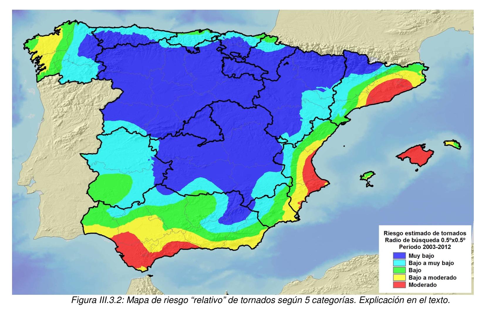 Mapa de riesgo relativo de tornados en espa a meteo - Tornados en espana ...