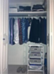 Small Clothes Closet After Organization.