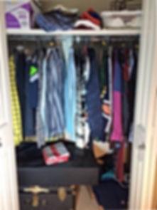 Small Clothes Closet Before Organization