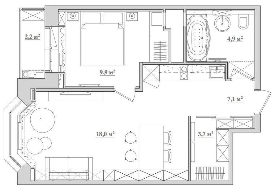 Дизайн квартиры 43 м2