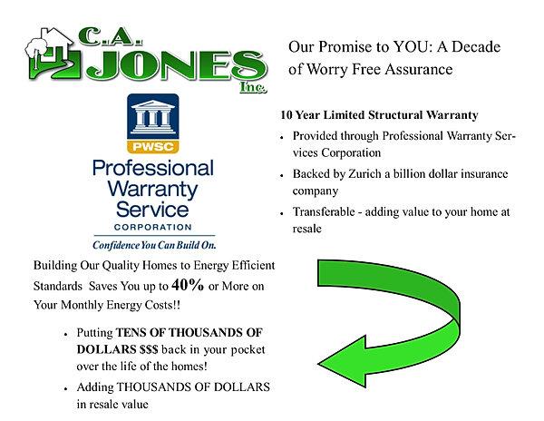 Ca Jones New Home 10 Year Warranty