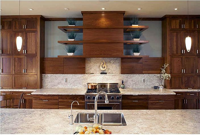 Wood Kitchen Shelves And Cabinets