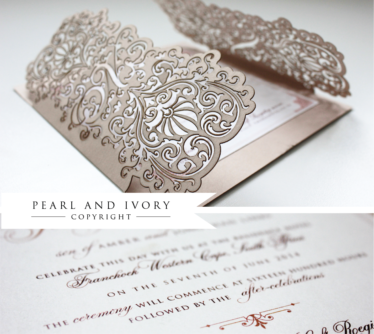 Blush Inspired Lasercut Wedding Invitation! | Pearl & Ivory ...