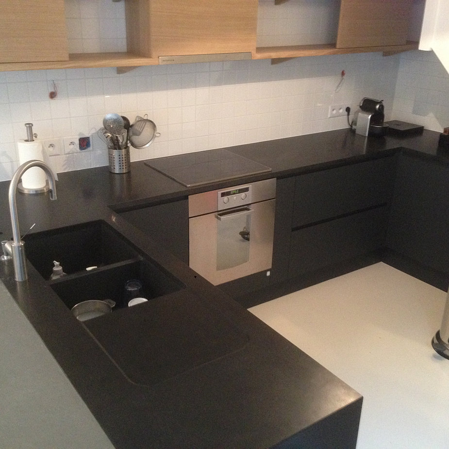 Best plan de travail granit isle adam with evier quartz noir for Evier double bac noir