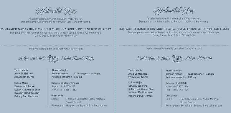 Gizby cards invitation card inner details 1 reception shared card malay ver stopboris Image collections