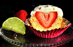 Lime Cupcakes with Strawberries