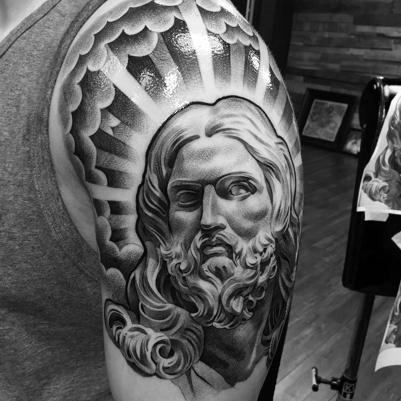 lilbtattoo black and grey tattoo artist   Jesus tattoo