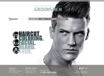 Male Salon Template - Attract style-savvy gents with this sleek theme. Add text and upload images to show off the variety of services offered by your men's salon or barbershop. Customize the design to create a website that makes a statement.
