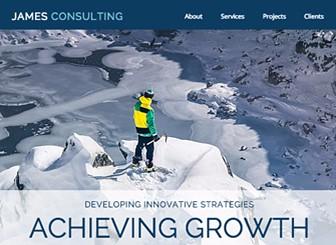コンサルタント Template - シャープなデザインがコンサルティングビジネスに最適です。テキストを編集して業務内容を説明し、ビジネスに関連する写真をアップロードしましょう。
