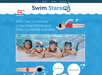 Swimming Lessons Template - With playful illustrations and a vibrant color palette, this is a fabulous website template to make a splash and build a successful online presence! The vertical page layout gives this template a fun and interactive feel and allows your visitors to engage with your website. Start editing today and customize a website that's perfect for your business.