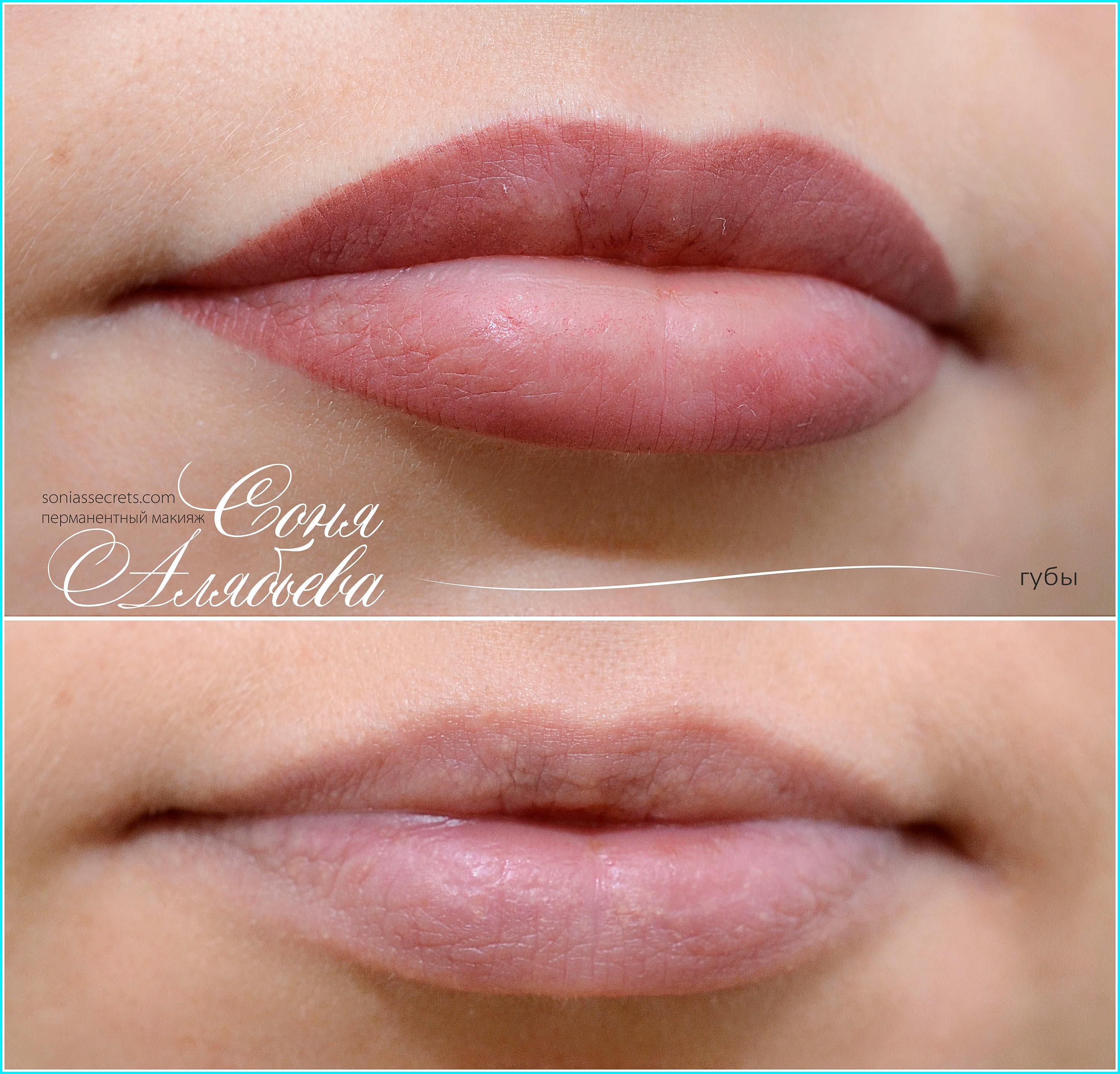 Перманентный макияж губы контур с растушевкой фото