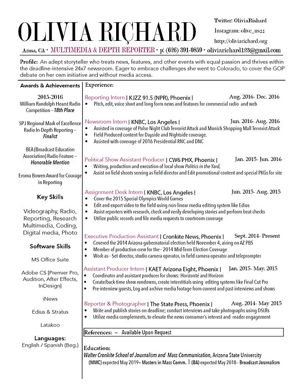 Olivia Richard | Journalist And News Reporter | Résumé