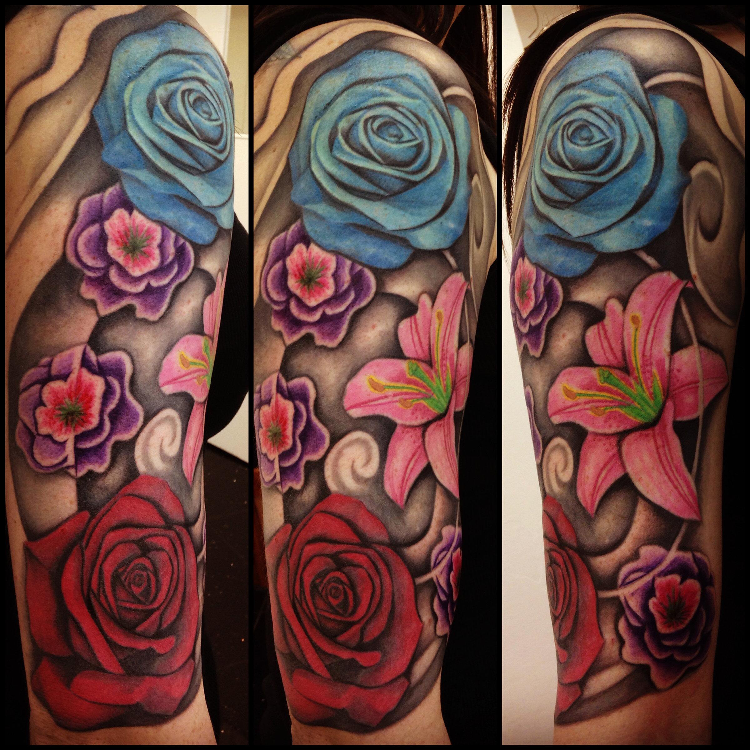 bodyart award winning tattoo and piercing studio tunbridge wells kent flower half sleeve by. Black Bedroom Furniture Sets. Home Design Ideas