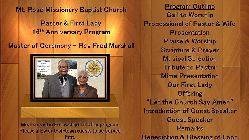 Mt rose mbc 2016 pastor1st lady 16th anniv pastor first lady banner 2 anniversary program for display altavistaventures Gallery