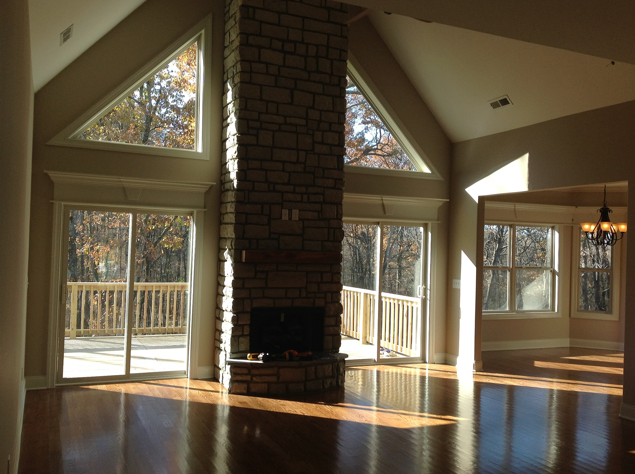 Home builders custom home building chattanooga floor - Floor to ceiling fireplace ...