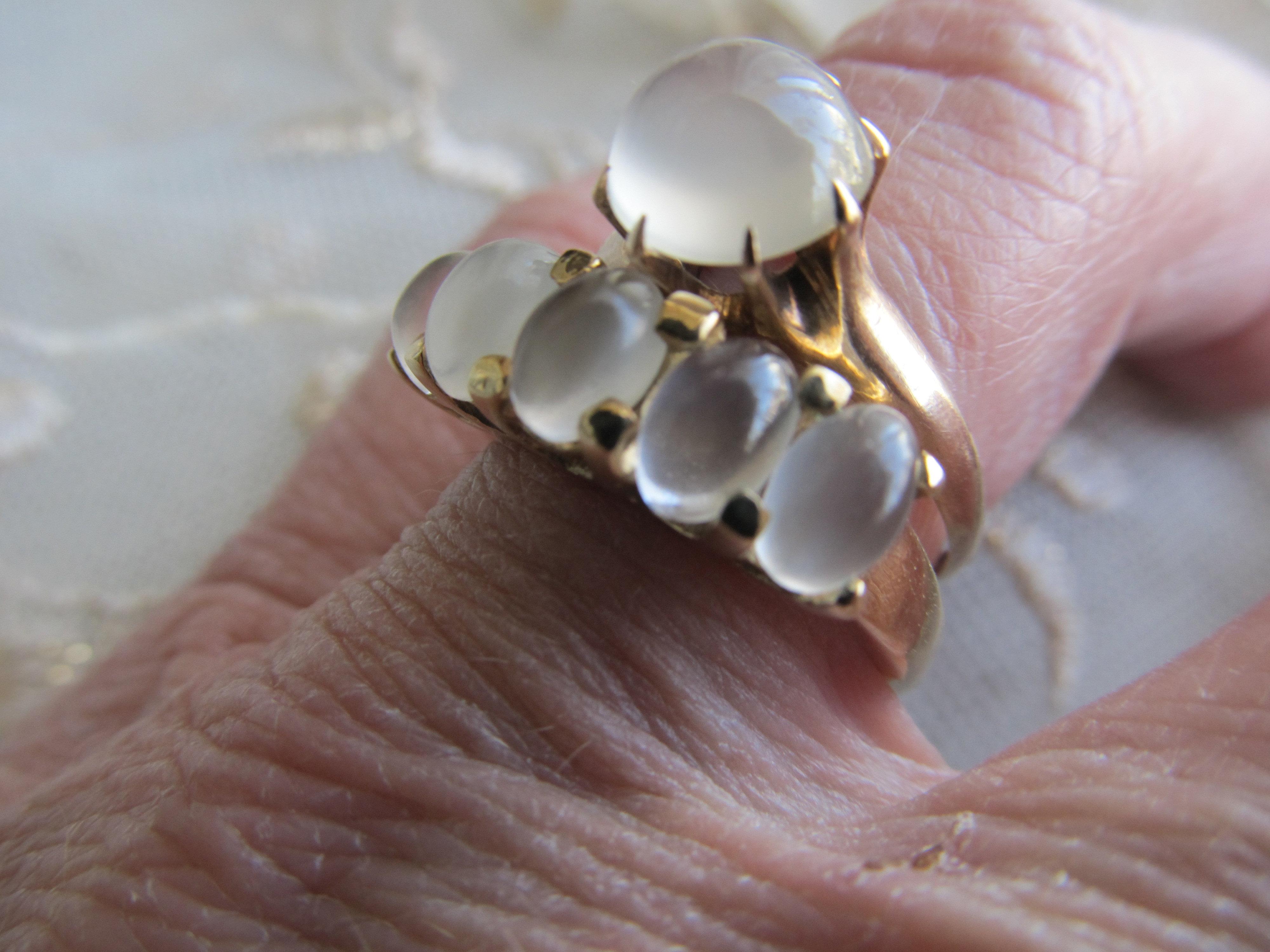 gallery moonstone wedding ring sets Heavy Vintage Moonstone Wedding Set