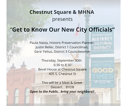 Who Chestnut Square & MHNA present What Meet & Greet & Dessert... BYOB Get to Know Our New