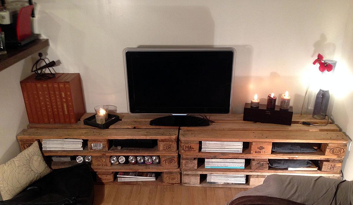 Meuble Tele Avec Palette : Fabriquer Un Meuble Tv Avec Palette Bibliothèque En Palette Palette