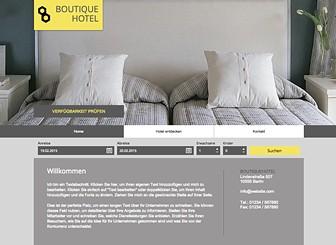 Boutique-Hotel Template - Vermitteln Sie die luxuriöse Atmosphäre Ihres Hotels mit dieser eleganten Vorlage. Zeigen Sie den Besuchern Fotos der Zimmer und informieren Sie über Preise. Beginnen Sie jetzt und erstellen Sie Ihre Online-Präsenz!
