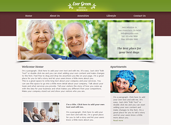 Senior Residence Template - Welcome seniors to your assisted living facility with this warm and friendly template. Add text to introduce your staff members, special services, and accommodation options.  Upload photos to give visitors a glimpse of the unique lifestyle available at your establishment.