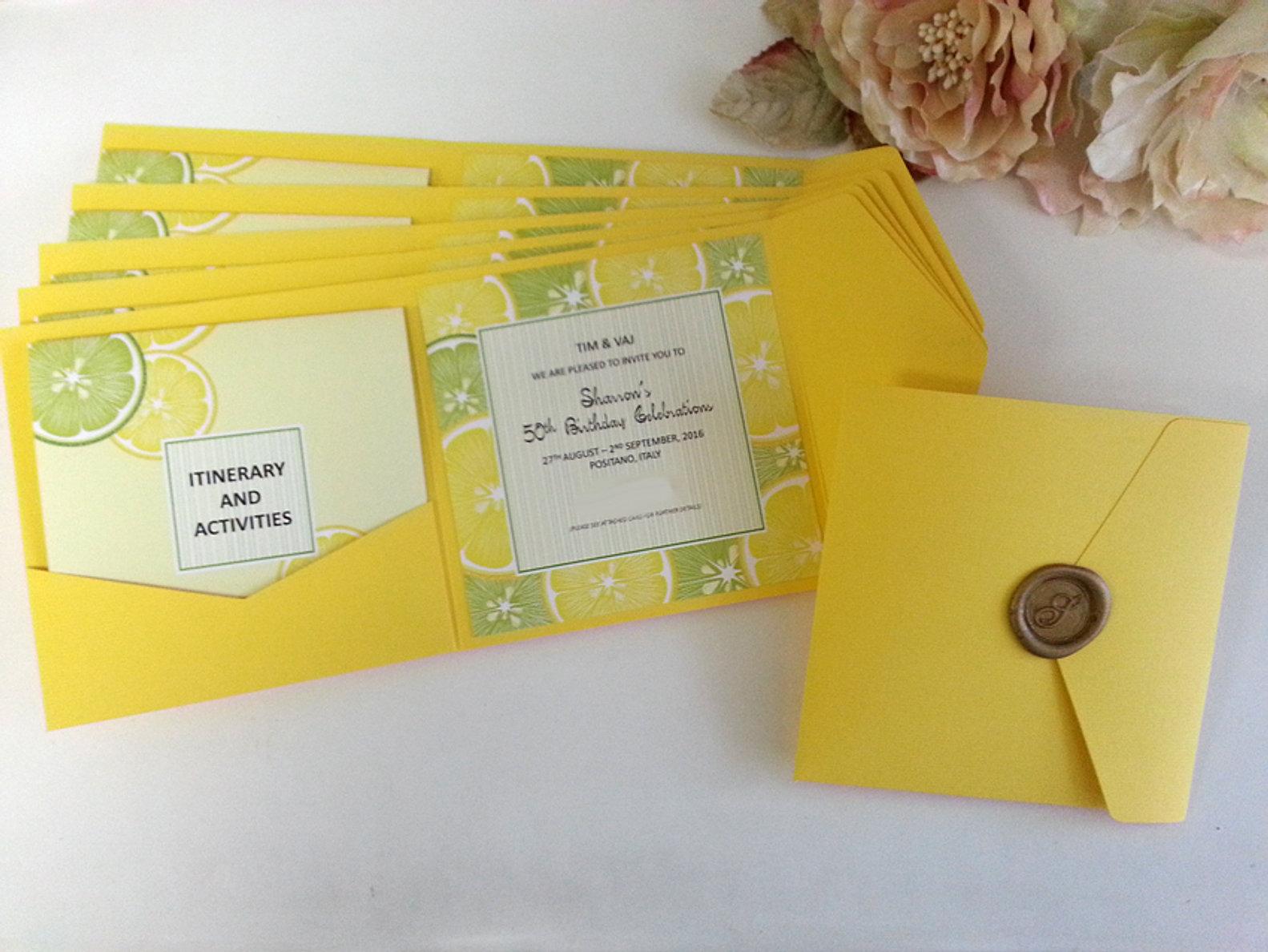 Birthday invitations and anniversary invitations sydney pure invites 50th birthday invitations lemon theme destionation celebration sydney australiag filmwisefo Images