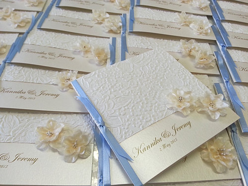 Ivory Silk Flower With Embossed Pattern Paper Wedding Invitations Sydney Jpg