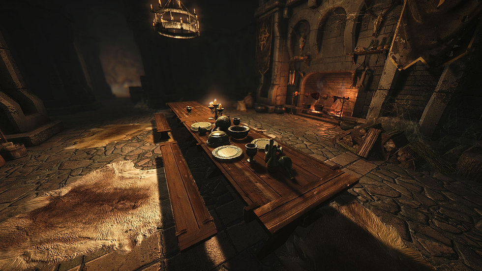 Dinner table at Fort Dawnguard.