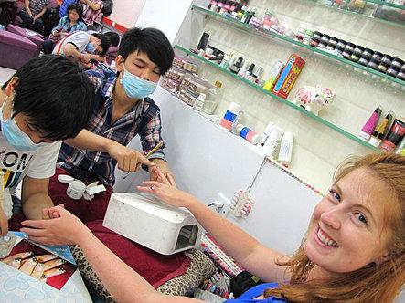 Getting a manicure ad pedicure