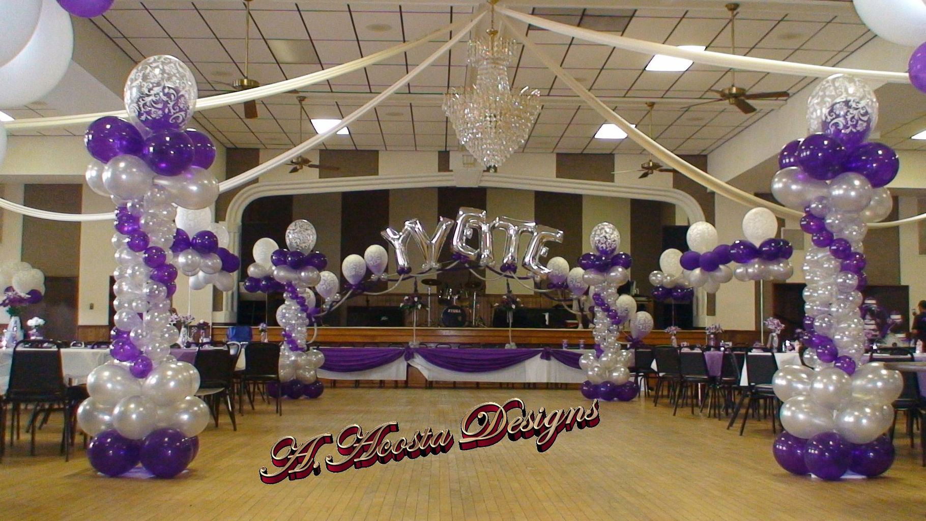 Aacosta designs inc event decorations with flowers and for Balloon decoration ideas for quinceaneras