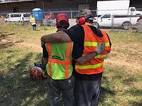 Shangri-La grounds crew giving each other hug