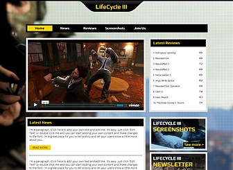 Jeux En Ligne Template - Ce thème hard-core amènera votre jeu vidéo au niveau supérieur. C'est le lieu idéal pour partager votre actualité, vos évaluations les plus récentes avec vos fans et pour rassembler votre communauté de joueurs. Téléchargez des clips vidéo et des captures d'écran pour donner à vos joueurs un aperçu de votre article.