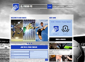 Sports Fanclub Template - Create an epic website worthy of your dream team! The photo gallery and full-screen background give you plenty of space to showcase images of your favorite players. Add text to share news and statistics with fellow enthusiasts.